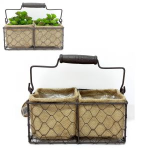 Jardin set/2 square wire hessian pot