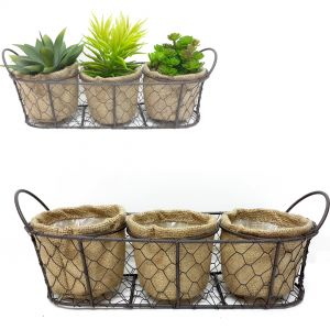Jardin set/3 round wire hessian pot