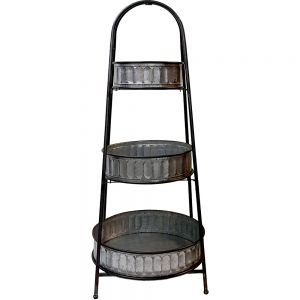 Franz 3-tier rustic metal round display tray