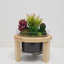 GCH012S : Sven wooden stand glass vase planter