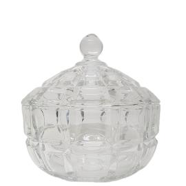 gcc38L-CL :Grace crystal glass jar w/ linear embossed pattern - Large (Clear)