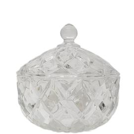 gcc39L-CL : Grace crystal glass jar w/ diamond embossed pattern - Large (Clear) **AVAIL MID JUNE **