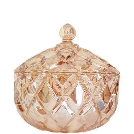 gcc39L-GO : Grace crystal glass jar w/ diamond embossed pattern - Large (Lazer Color: Gold) **AVAIL MID JUNE 2020**