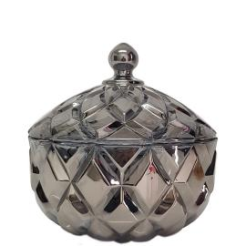 gcc39L-GY : Grace crystal glass jar w/ diamond embossed pattern - Large  (Lazer Color: Smoky Grey) **AVAIL MID JUNE**