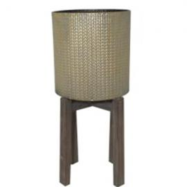 L116 : Turan metal planter with wooden base - Tall   **AVAIL MID APRIL 2020**