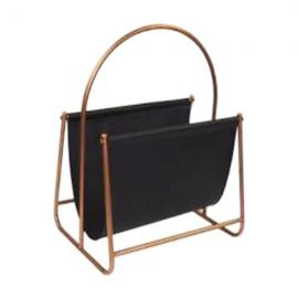 L124 : Derrick modern faux leather brass metal frame magazine holder  **AVAIL MID APRIL 2020**