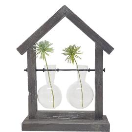 LW270-2 : Wooden house propagation stand / double vase holder