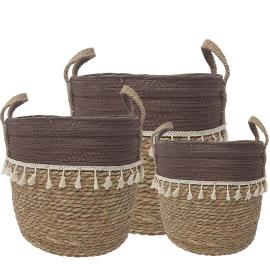 MJ-01WLC : set/3 Trish V-shape basket with tassles - 2-tone - natural / chocolate