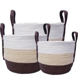 MJ-03WL : set/3 Venus tri-color round storage basket (plastic lined) w/handles - Chocolate/white/beige