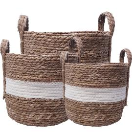 MJ06037a : Set/3 Andrew striped storage hamper w/handles - White/Natural **AVAILABLE END SEPTEMBER**