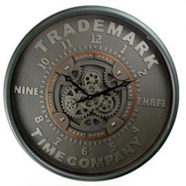 TQ-Y676 : D80cm Round Modern Trademark Exposed Gear Clock - Black w/metal green **AVAIL END APRIL 2020**