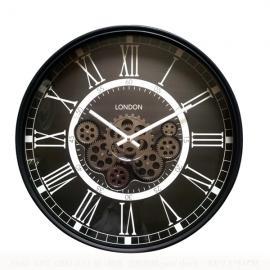 TQ-Y680 : D55cm Round Classic London exposed gear movement wall clock - Black