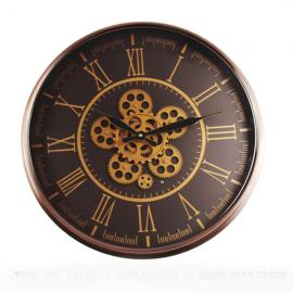 TQ-Y688 : D55cm Round Hermes exposed gear movement wall clock - Black w/Copper **AVAIL END APRIL 2020**