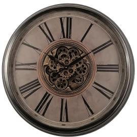 TQ-Y691 : D82.5cm Round Antique French Country Exposed Gear Movement Wall Clock - Silver washed w/natural