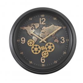 TQ-Y713 : D53cm Round The World Exposed gear clock - Black