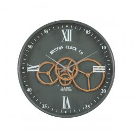 TQ-Y716 : D40cm Boston Navy Round Exposed Movement gear clock - Army Metal Green
